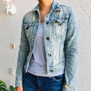 ZARA TRF distressed jean jacket denim trucker S